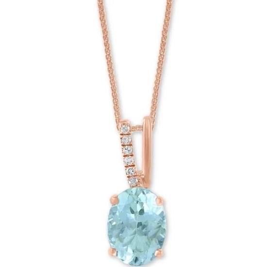Picture of Lali 14K Rose Gold Aquamarine Pendant