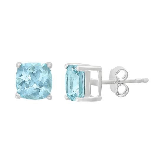 Picture of Lali 14K White Gold Aquamarine Earrings Cushion Cut