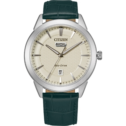 Picture of Citizen Corso Watch with Ivory Dial & Green Leather Strap