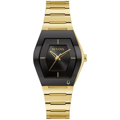 Picture of Bulova Ladies' Futuro Gemini Gold-Tone Watch with Black Dial