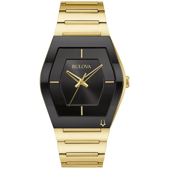 Picture of Bulova Men's Futuro Gemini Gold-Tone Watch with Black Dial