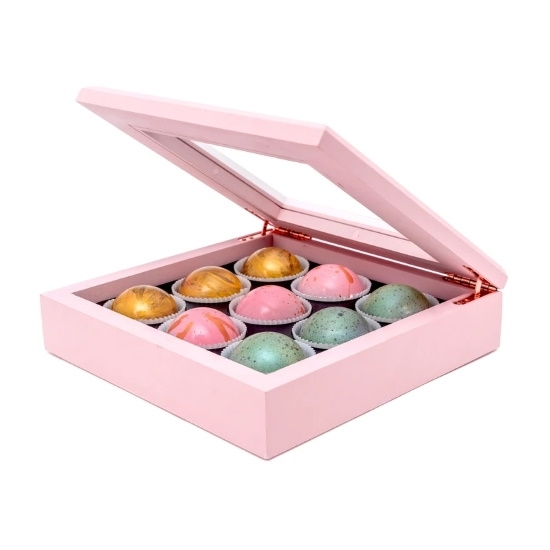 Picture of Flair 9-Piece Maple Wood Box of Chocolate Truffles