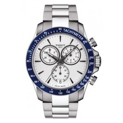 Picture of Tissot V8 Quartz Chronograph Watch w/ White Dial & Blue Bezel