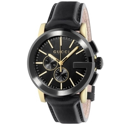 Picture of Gucci G Chrono New XL Blk/Yellow Dial, Blk Leather