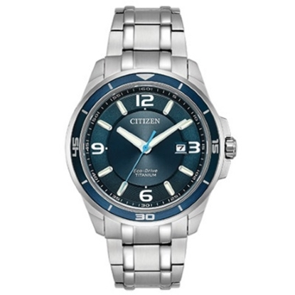 Picture of Citizen Eco-Drive Super Titanium TI+IP Watch with Blue Dial