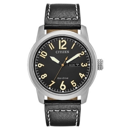 Picture of Citizen Eco-Drive Chandler Black Leather Watch with Black Dial