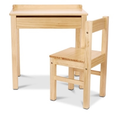 Picture of Melissa & Doug® Wooden Lift-Top Desk & Chair - Honey