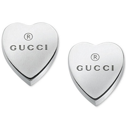 Picture of Gucci Sterling Silver Trademark Heart Earrings