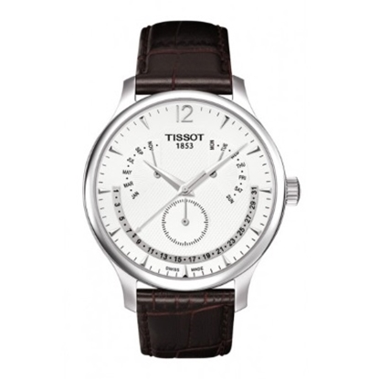Picture of Tissot Tradition Men's Brown Leather Watch with Silver Dial