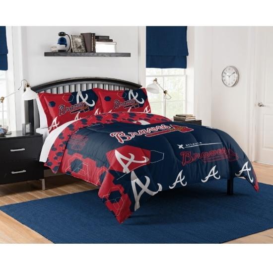 Picture of MLB King Hexagon Comforter & Shams Set - Braves
