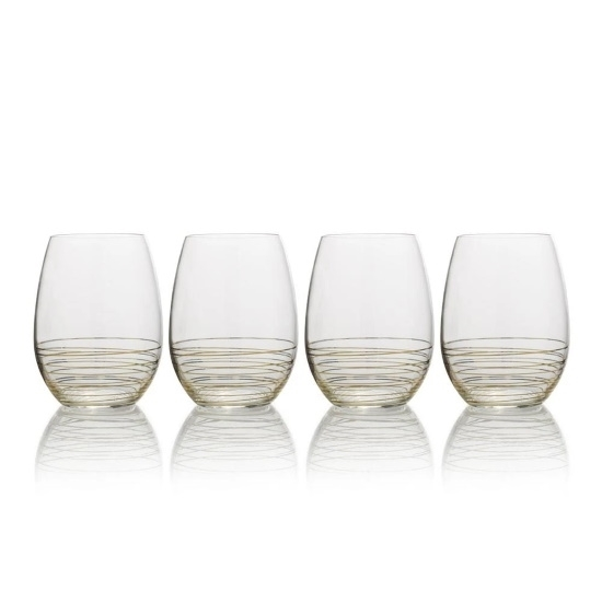 Picture of Mikasa Electric Boulevard Gold Stemless Wine Glasses- Set of 4