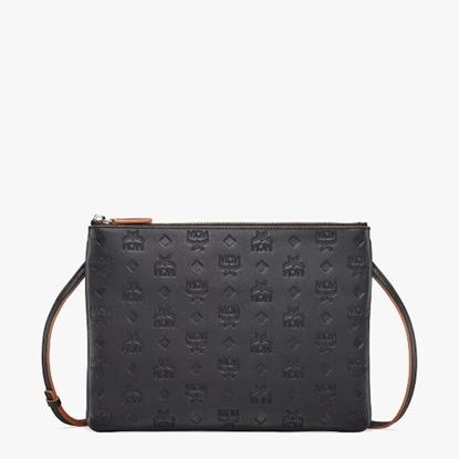 Picture of MCM Klara Crossbody Pouch - Black Monogram Leather