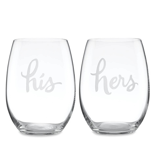 Picture of Kate Spade Two of a Kind His & Hers Stemless Wine Glass Set