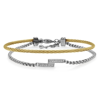 Picture of ALOR Grey Chain & Yellow Cable Intermix Bracelet