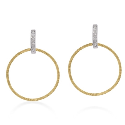 Picture of ALOR Yellow Cable Petite Drop Circle Earrings
