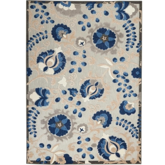 Picture of Nourison Aloha Natural/Blue Indoor/Outdoor Rug - 5'3'' x 7'5''