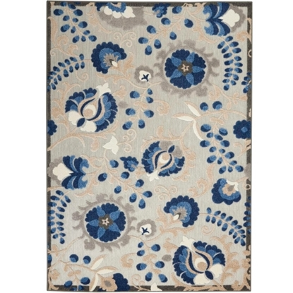 Picture of Nourison Aloha Natural/Blue Indoor/Outdoor Rug-  3'6'' x 5'6''