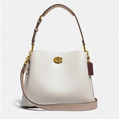 Picture of Coach Leather Willow Shoulder Bag - Brass/Chalk Multi