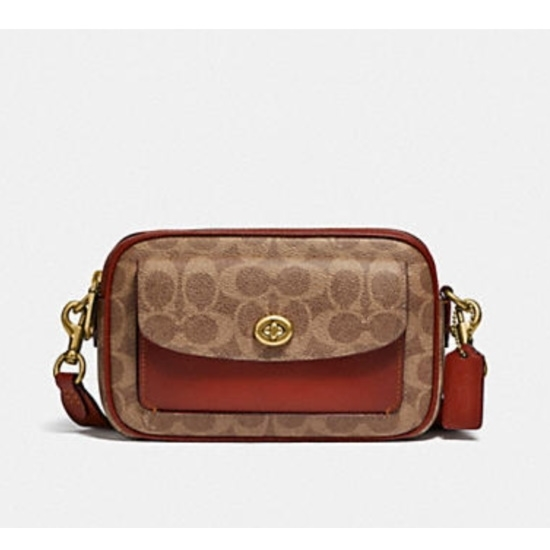 Picture of Coach Signature Willow Camera Bag - Brass/Tan/Rust