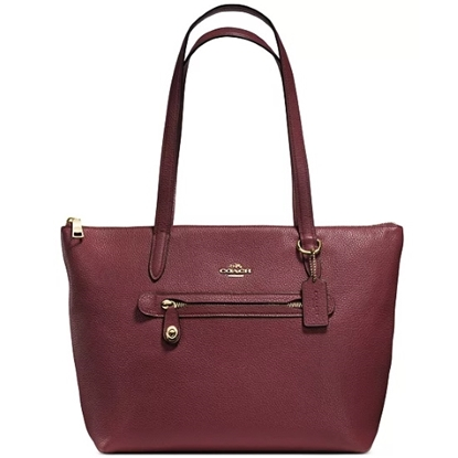 Picture of Coach Leather Taylor Tote - Gold/Wine