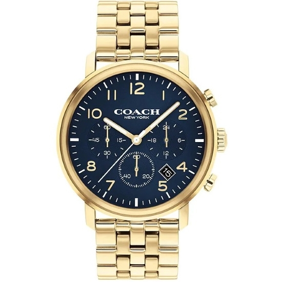 Picture of Coach Men's Harrison Gold-Tone Watch with Blue Dial
