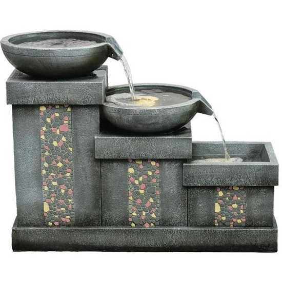 Picture of Hanover 26-Inch 3-Tier Mosaic Tile Garden Fountain with LED Lights