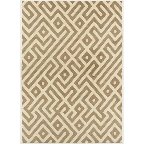 Picture of Hanover 9 Ft. x 12 Ft. Indoor/Outdoor Backless Rug with 5000 Hours of UV Protection - Greek Key Tan