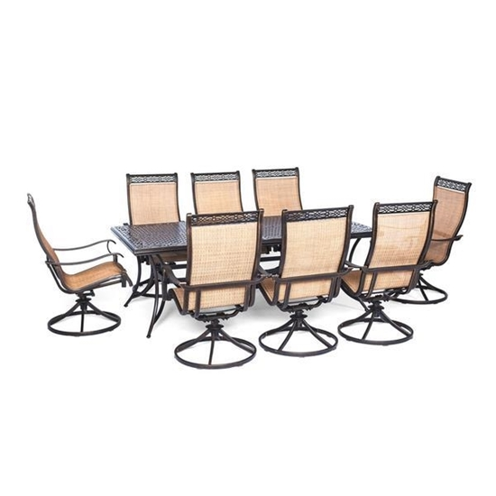 Picture of Hanover Manor 9-Piece Outdoor Dining Set with Eight Swivel Rockers