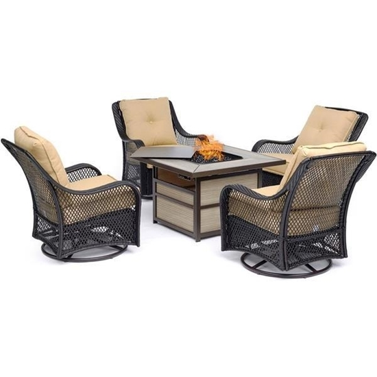 Picture of Hanover Orleans5pc Fire Pit: 4 Swivel Gliders, Square KD Fire Pit w/Tile - Tan/Tile