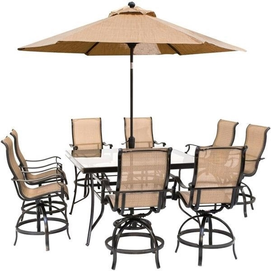 Picture of Hanover Monaco 9-Piece Counter-Height Outdoor Dining Set with 8 Sling Swivel Chairs, 60-In. Glass-Top Table
