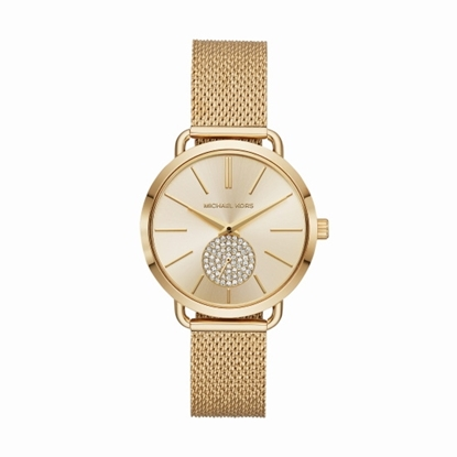 Picture of Michael Kors Portia Gold-Tone Stainless Steel Mesh Watch