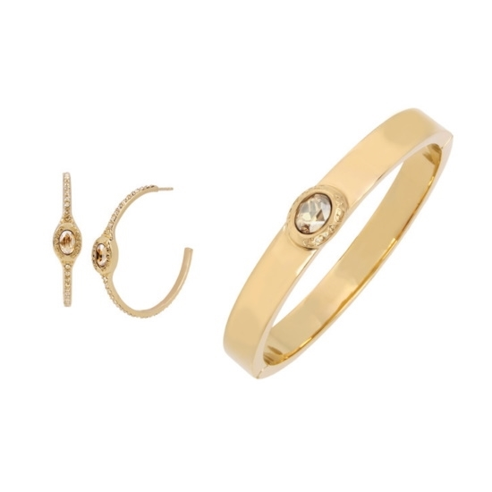 Picture of Coach Signature Logo Pave Hoop Earrings w/ Hinge Bangle - Gold