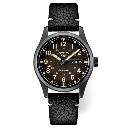 Picture of Seiko 5 Sports Watch with Black Dial & Black Leather Band
