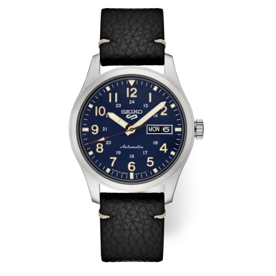 Picture of Seiko 5 Sports Watch with Blue Dial & Black Leather Band