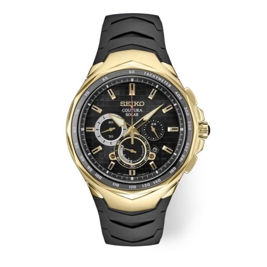 Picture of Seiko Coutura SGP Solar Chrono Watch with Black Dial
