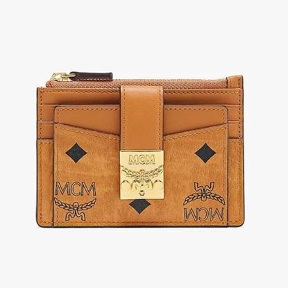 Picture of MCM Visetos Zip Card Case - Cognac