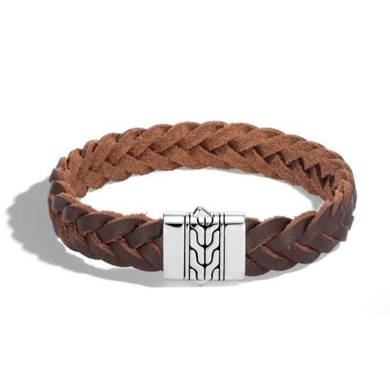 Picture of John Hardy Classic Chain Silver Bracelet Brown Leather Cord