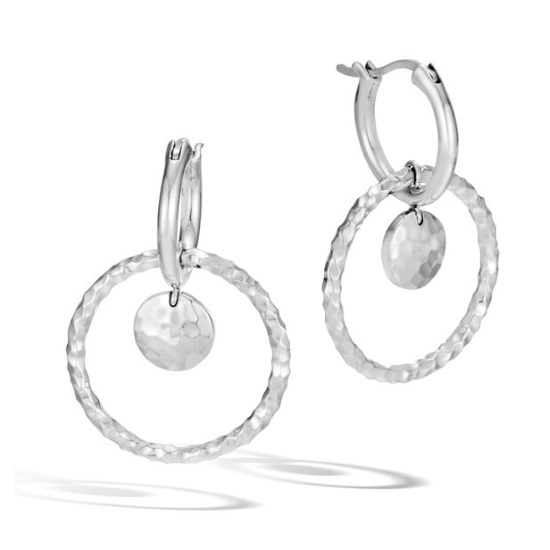 Picture of John Hardy Women's Dot Hammered Silver Interlink Drop Earrings