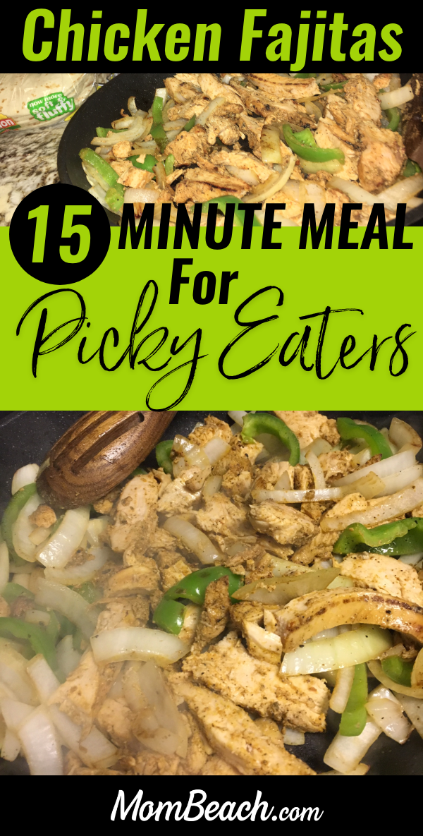 Don't have much time for dinner? Try this super easy 15 minute meal, chicken fajitas, for your picky eater. These have a zesty flavor that isn't spicy at all. The whole family will enjoy them, even a super picky toddler. These chicken fajitas are so yummy and also can be keto friendly if you don't use tortillas. This meal is quick and easy for moms to try in a skillet. #chickenfajitas #easymeals #15minutemeal #recipe #chickendinner #easyrecipes #workingmommeals