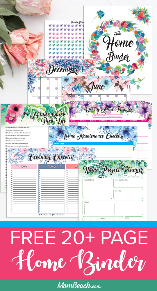 Do you want your home clean and organized? Then, check out this free 20+ page Home Binder right away. It has free printable cleaning worksheets, a home project planner, a home maintenance planner, free printable calendar, free stickers and so much more. With this printable free binder, you are sure to get so much done this year. #freebinder #freeprintables #freeworksheet #freeorganizationprintables #freebinders #freehomebinder #freeprintableplanner #freeplanner #organizing #cleaning