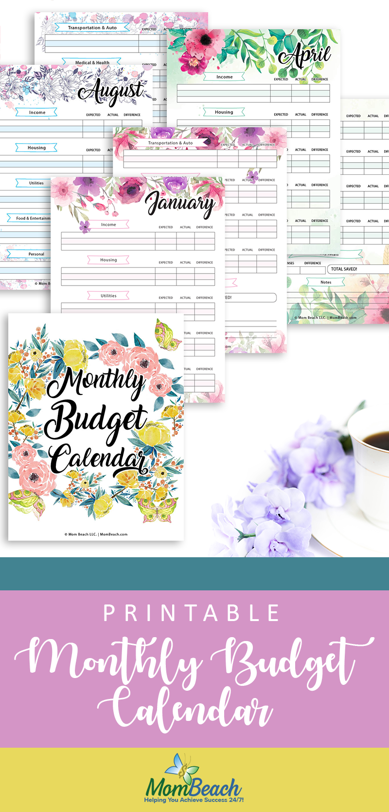 graphic relating to Printable Budget Calendar called Totally free Printable Budgeting Month to month Calendar - Mother Beach front