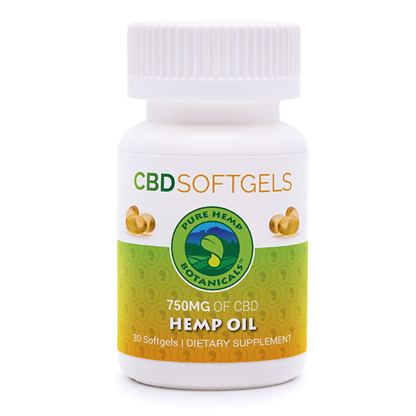 Pure Hemp CBD Oil Softgels 750mg Pure Hemp Botanicals