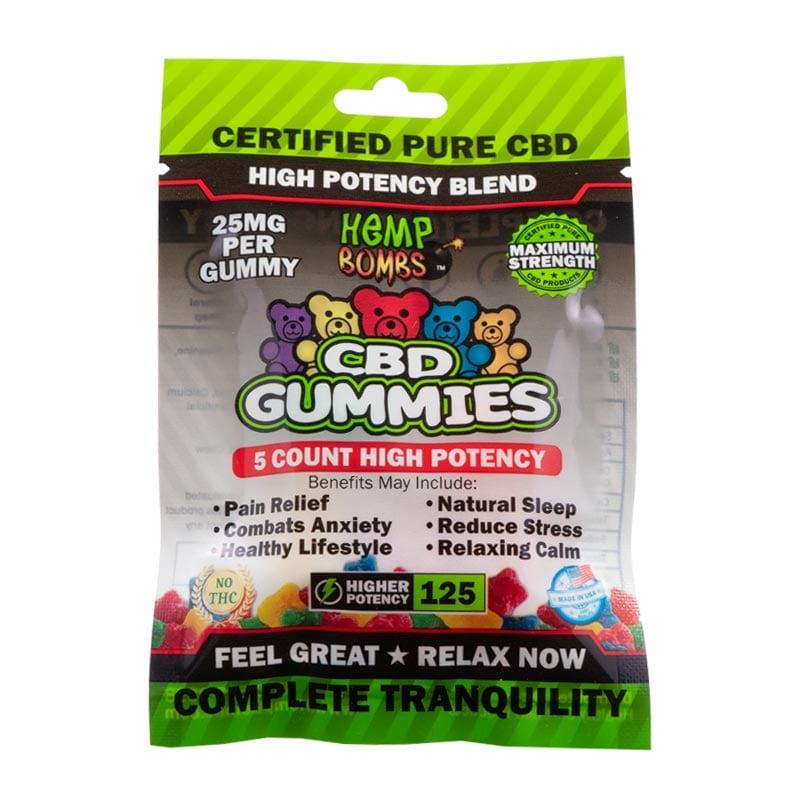 5-Count High Potency CBD Gummies Hemp Bombs