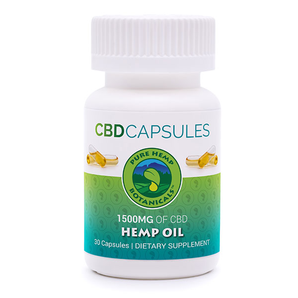 Pure Hemp CBD Oil Capsules 1,500 mg Pure Hemp Botanicals
