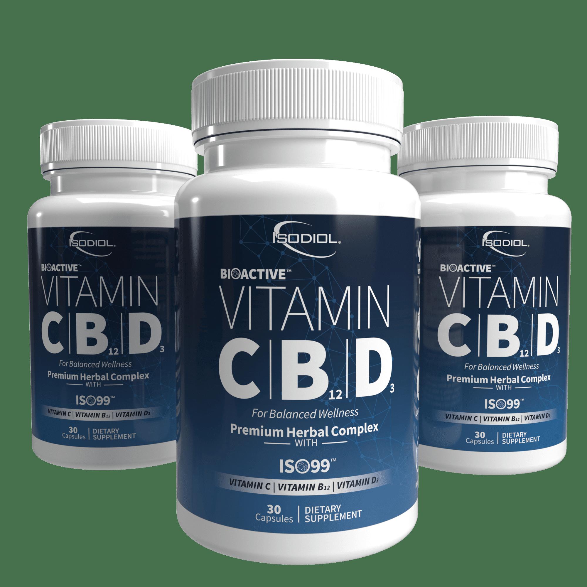 Bioactive Vitamin C   B12   D3 Caps™ Isodiol