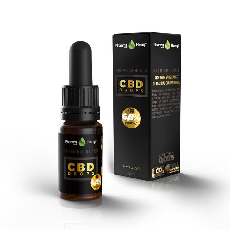 PREMIUM BLACK CBD DROPS 6,6% | 10ml PharmaHemp