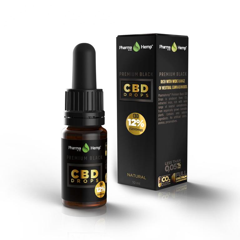 PREMIUM BLACK CBD DROPS 12% | 10ml PharmaHemp