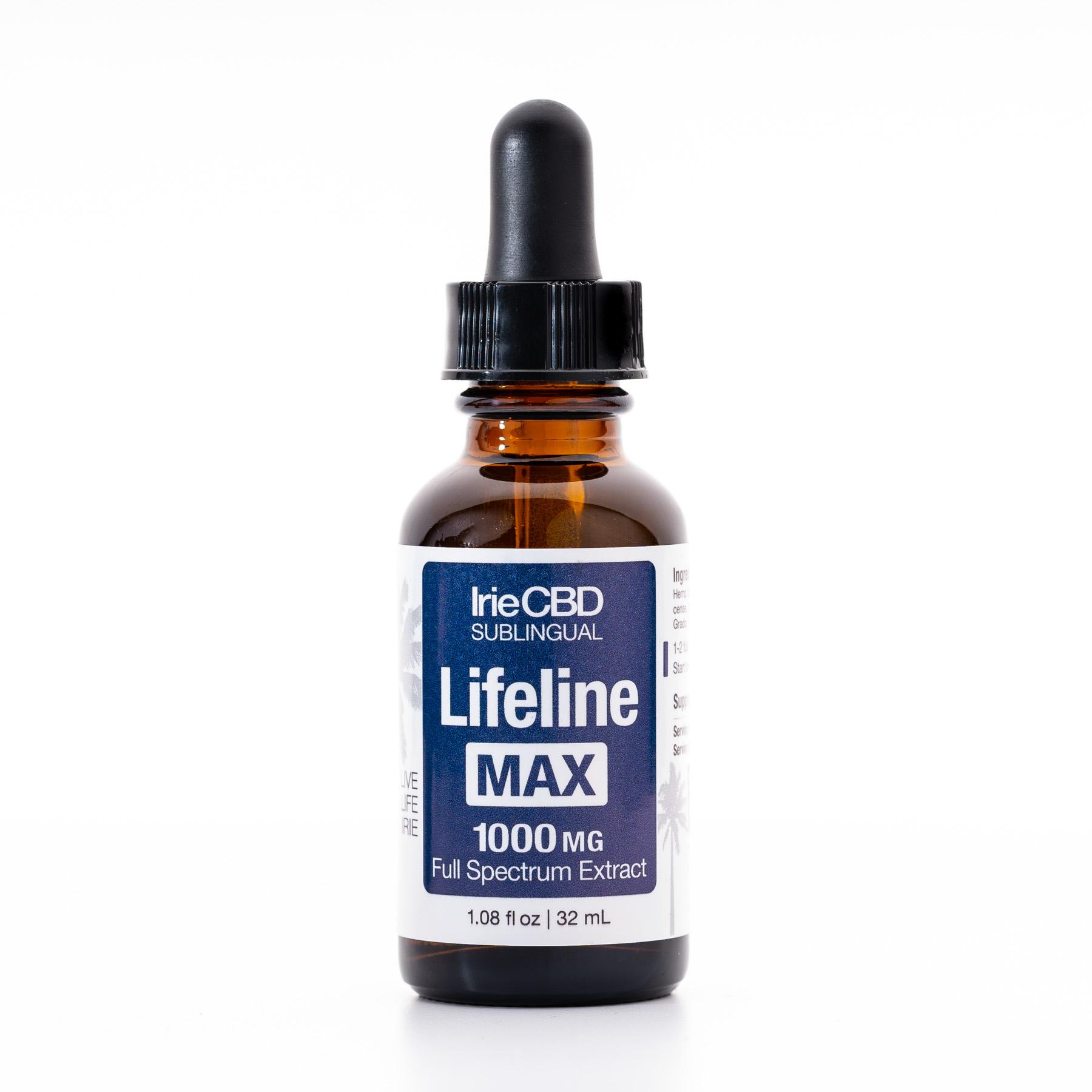 Lifeline Max 1000mg CBD Oil Tincture Irie CBD