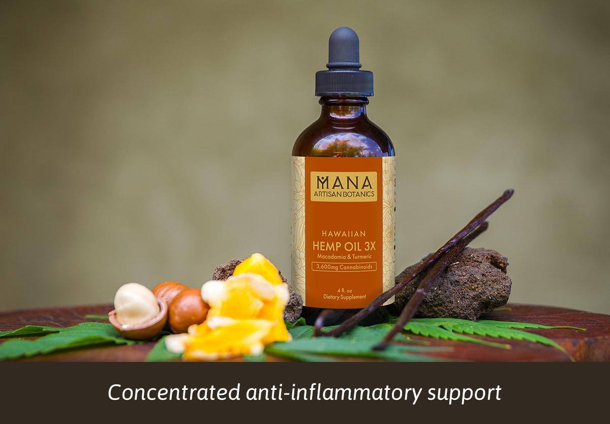 Hemp Oil 3X: Macadamia, Turmeric & Vanilla Mana Artisan Botanics