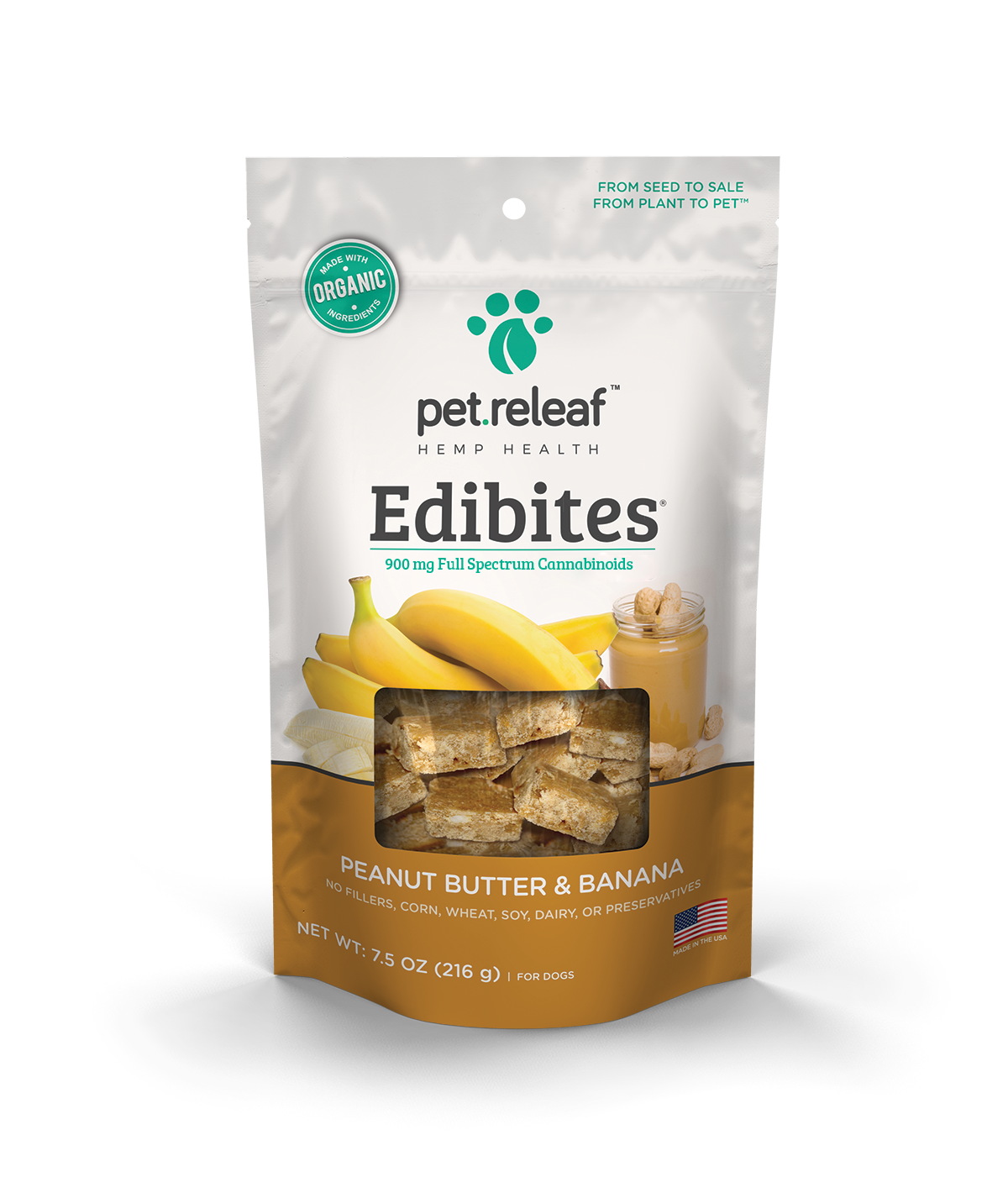 CBD Dog Treats – Hemp Oil Edibites with Peanut Butter & Banana\ Elixinol